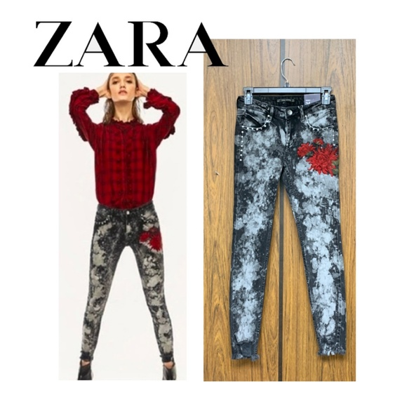 Zara Denim - NEW Zara Floral Embroidered Acid Wash Skinny Jeans
